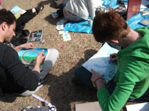 Outdoors Genesis art workshop in Meiji Shrine