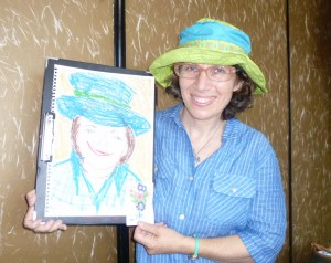 Liane with self-portrait drawn from imagination
